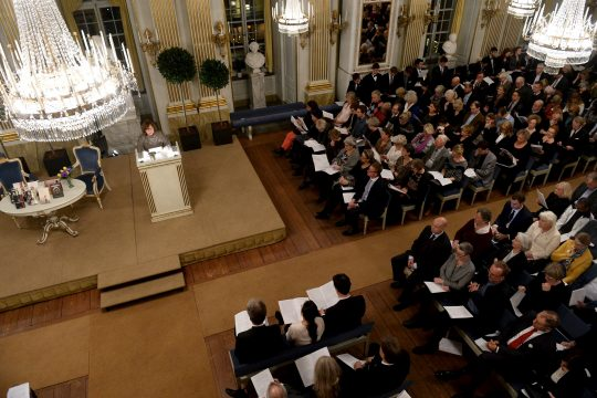 Belarus writer and Nobel Literature Laureate Svetlana Alexievich (L) speaks during her Nobel lecture at the Swedish Academy in Stockholm, Sweden, December 7, 2015. The Nobel Prize award ceremony will take place in Stochkolm on December 10. REUTERS/Fredrik Sandberg/TT News Agency ATTENTION EDITORS - THIS IMAGE WAS PROVIDED BY A THIRD PARTY. FOR EDITORIAL USE ONLY. NOT FOR SALE FOR MARKETING OR ADVERTISING CAMPAIGNS. THIS PICTURE IS DISTRIBUTED EXACTLY AS RECEIVED BY REUTERS, AS A SERVICE TO CLIENTS. SWEDEN OUT. NO COMMERCIAL OR EDITORIAL SALES IN SWEDEN. NO COMMERCIAL SALES.