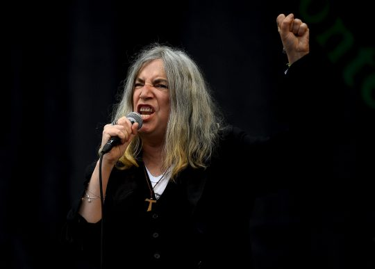 Patti Smith performs on the Pyramid stage at Worthy Farm in Somerset during the Glastonbury Festival in Britain, June 28, 2015. REUTERS/Dylan Martinez