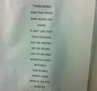Setlist Alice in Chains