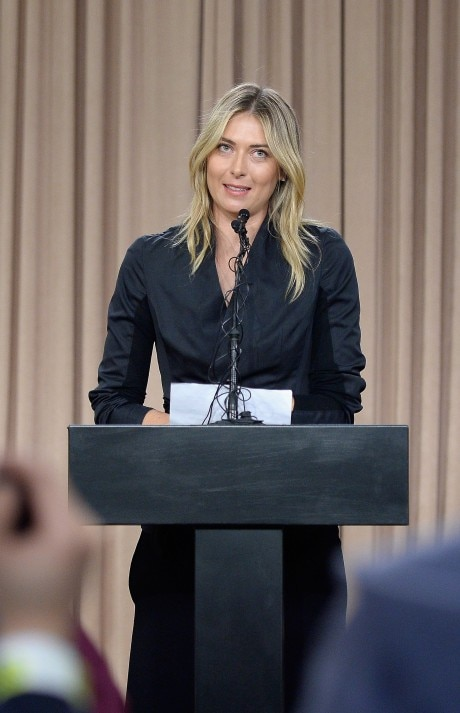 LOS ANGELES, CA - MARCH 07: (EDITORS NOTE: Retransmission of image #514192172 with alternate crop.) Tennis player Maria Sharapova addresses the media regarding a failed drug test at The LA Hotel Downtown on March 7, 2016 in Los Angeles, California. Sharapova, a five-time major champion, is currently the 7th ranked player on the WTA tour. Sharapova, withdrew from this week?s BNP Paribas Open at Indian Wells due to injury. Kevork Djansezian/Getty Images/AFP == FOR NEWSPAPERS, INTERNET, TELCOS & TELEVISION USE ONLY ==
