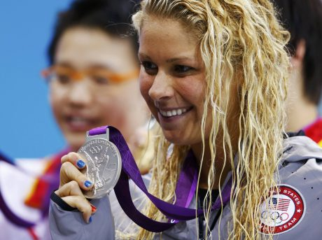 Elizabeth Beisel of the U.S. poses with her silver medal during the women's 400m individual medley victory ceremony at the London 2012 Olympic Games at the Aquatics Centre
