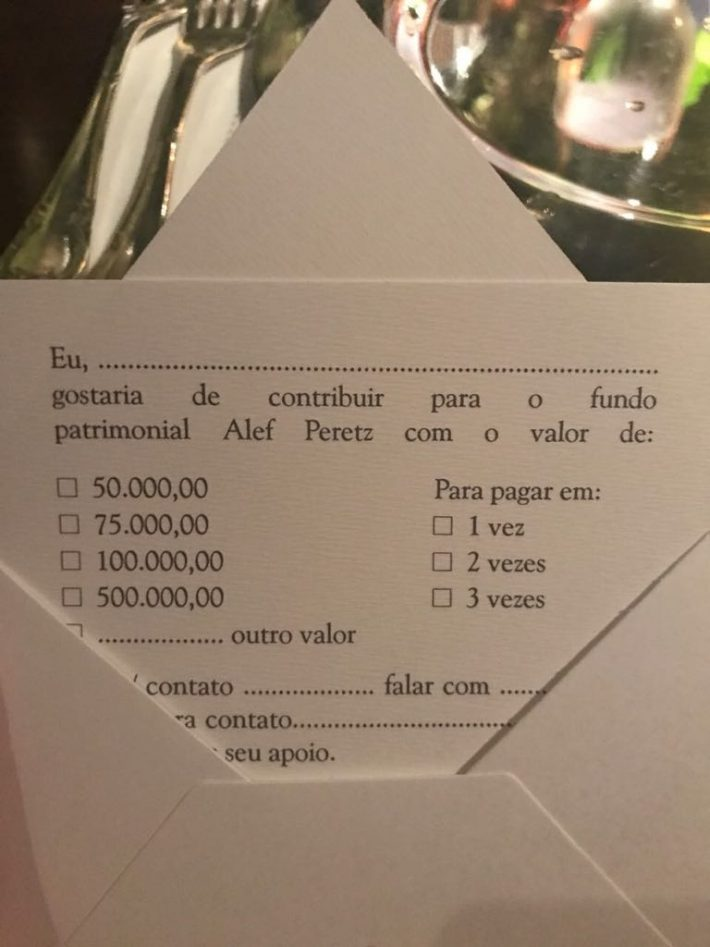 ENVELOPE DO JANTAR BENEFICENTE