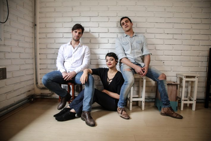 Bruno Narchi, Ingrid Gaigher e Thiago Machado, atores do musical. Amanda Perobelli/Estadão