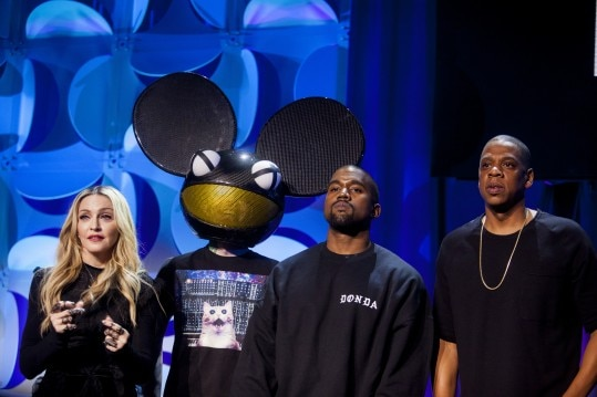 Madonna, Deadmau5, Kanye West e Jay-Z na apresentação do Tidal (Sam Hodgson/The New York Times)