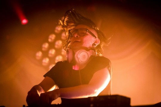 Electronic musician and DJ Skrillex performing at a sold out Brooklyn Bowl, New York, Feb. 11, 2014. While he played some new material, the first of his performances around Brooklyn featured familiar sounds, giving fans the Skrillex they are happily familiar with. (Chad Batka/The New York Times)