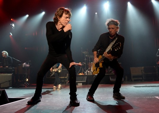 LOS ANGELES, CA - MAY 20: Musicians Mick Jagger (L) and Keith Richards perform onstage during The Rolling Stones Los Angeles Club Show at The Fonda Theatre on May 20, 2015 in Los Angeles, California. The Rolling Stones played a special surprise show at The Fonda Theatre in Los Angeles with a one-time only set featuring the original Sticky Fingers album in its entirety with additional Stones hits. The intimate performance was a celebration of the June 9th re-issue of the Sticky Fingers album, one of the most revered albums in the band's storied catalog, the 1971 classic features timeless tracks such as