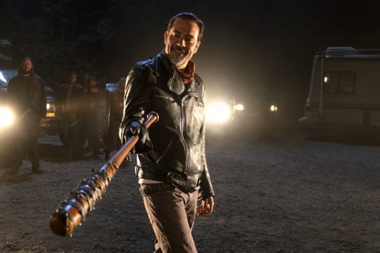 In this image released by AMC, Jeffrey Dean Morgan as Neganappears in a scene from 'The Walking Dead.' 'The Walking Dead' returned with a bloody bang for its seventh season as the victim of bat-wielding bad guy Negan was revealed in the Sunday, Oct. 23, 2016 premiere. (Gene Page/AMC via AP)