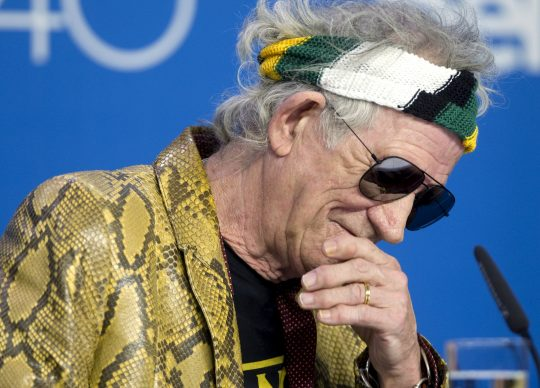 Musician Keith Richards attends a news conference to promote the film