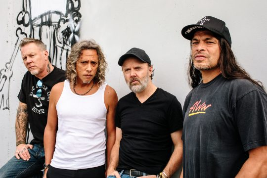 From left: James Hetfield, Kirk Hammett, Lars Ulrich and Robert Trujillo, of the hard-rock band Metallica, at their headquarters in San Rafael, Calif., Nov. 11, 2016. Songs about rage, mayhem, madness and annihilation are business as usual for Metallica on the band's new album,
