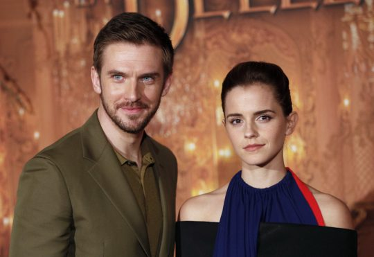 Actress Emma Watson and actor Dan Stevens pose during a photocall for the movie La belle et la bete (beauty and the beast), in Paris, Monday, Feb. 20, 2017. (AP Photo/Christophe Ena)