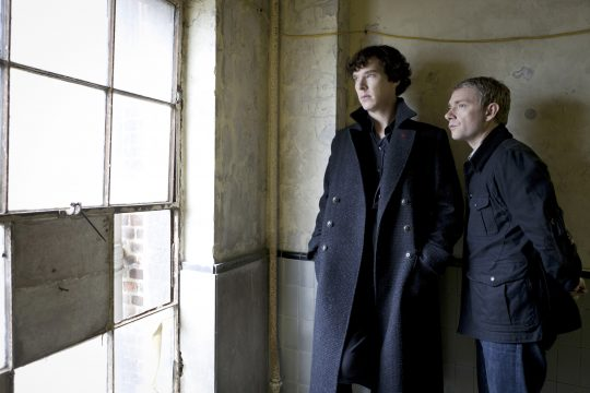 An undated handout photo of Benedict Cumberbatch, left, as the title character in the television series