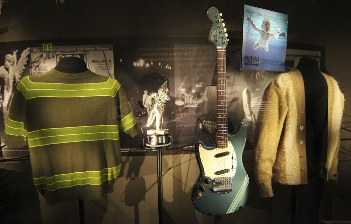 Rarely displayed memorabilia including iconic clothing and musical instruments of the late Kurt Cobain of the legendary grunge band Nirvana, are on display at the