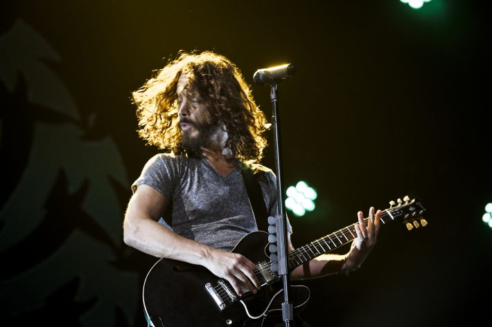 FIEL-- Chris Cornell performs with Soundgarden at the Prudential Center in Newark, N.J., July 8, 2011. The band reunited after 14 years between tours. Cornell, a powerful, dynamic singer whose band Soundgarden was one of the architects of grunge music, died in Detroit on May 17, 2017. He was 52. (Chad Batka/The New York Times)
