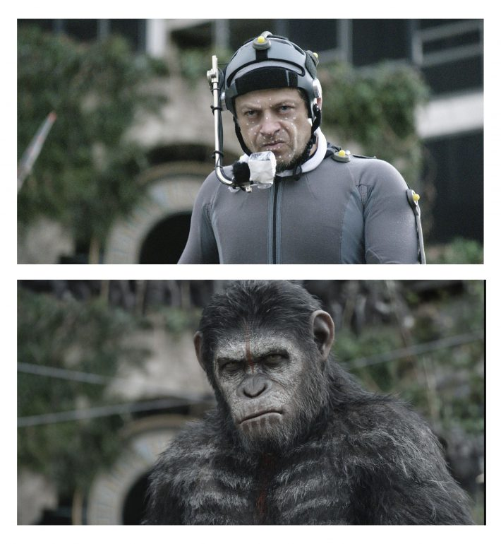 Actor Andy Serkis is seen in his role as ape Caesar from the upcoming film