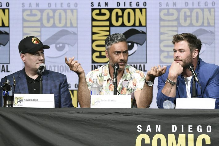 Kevin Feige, from left, Taika Waititi and Chris Hemsworth attend the