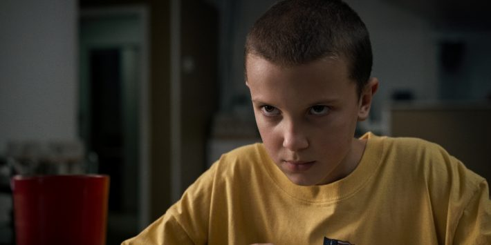 This image released by Netflix shows Millie Bobby Brown in a scene from