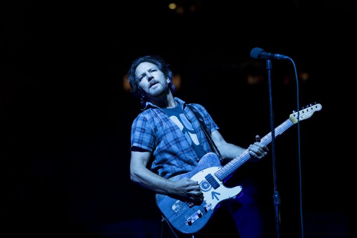 Eddie Vedder performs with Pearl Jam at a sold-out Madison Square Garden in New York, May 1, 2016. Vedder howled and jumped around for nearly three hours, making the show not just a gathering of cult-band loyalists revisiting fond memories, but a full-throttle, here-and-now arena-rock concert - a marathon of punk velocity, grunge angst, metal impact and jam-band interplay that never seemed routine for an instant. (Chad Batka/The New York Times)