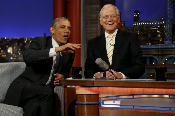 FILE PHOTO: U.S. President Barack Obama tapes an appearance on the Late Show with David Letterman at the Ed Sullivan Theater in New York, U.S., May 4, 2015.  REUTERS/Jonathan Ernst/File Photo