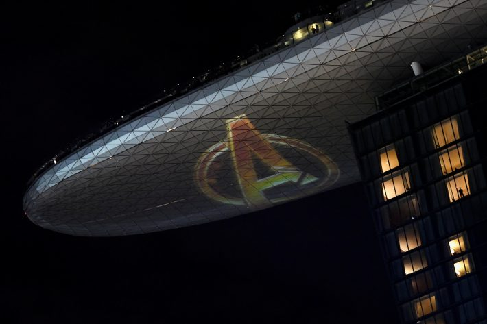 The Avengers logo is seen on the Marina Bay Sands SkyPark during a fan event for Marvel Studio's Avengers: Infinity War movie, in Singapore April 16, 2018. REUTERS/Feline Lim
