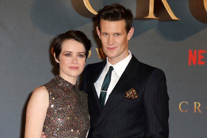 FILE - In this Nov. 21, 2017, file photo, actors Claire Foy, left, and Matt Smith pose at the premiere of season two of the Netflix series 'The Crown,