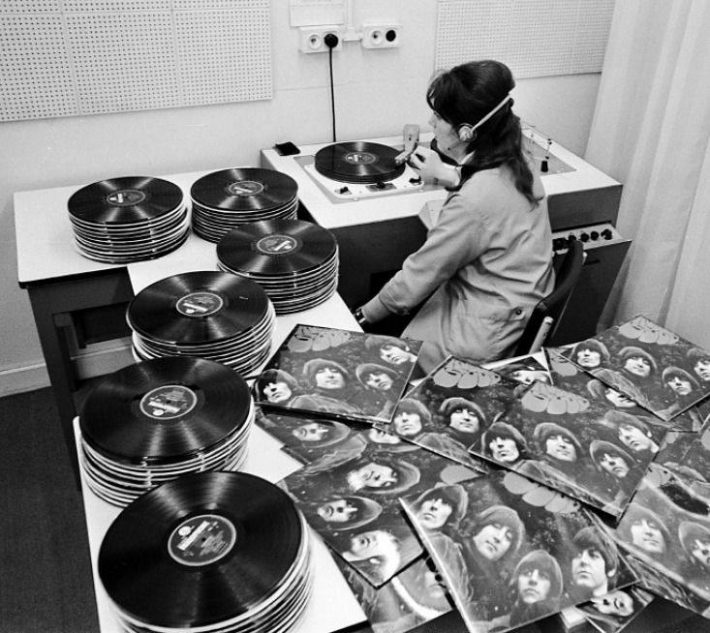 Quality control checking the new Beatles Rubber Soul LP at EMI studios, 1965