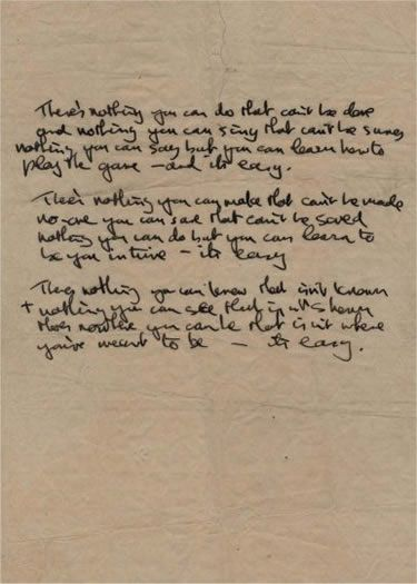 Texto limpo: o manuscrito de All You Need is Love, de John Lennon.